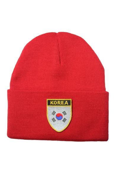 SOUTH KOREA Country Flag BRIM Knitted HAT CAP choose your color BLACK, WHITE, RED, PINK, BLUE... NEW