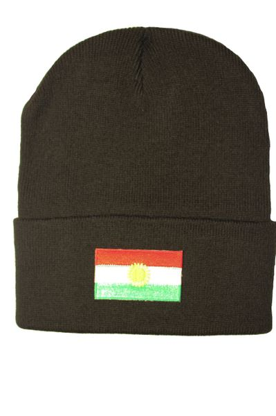 KURDISTAN Country Flag BRIM Knitted HAT CAP choose your color BLACK, WHITE, RED, PINK, BLUE... NEW