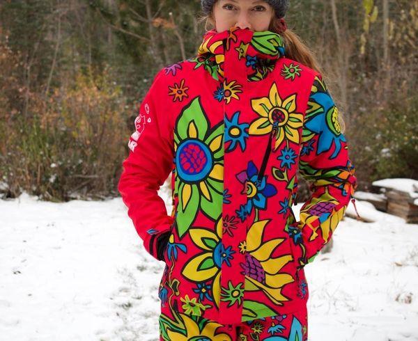 SPRING FLOWERS LADIES Hot pink Technical full zip hooded jacket