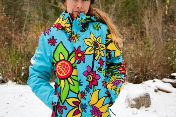 SPRING FLOWERS Ladies technical turquoise full zip hooded jacket