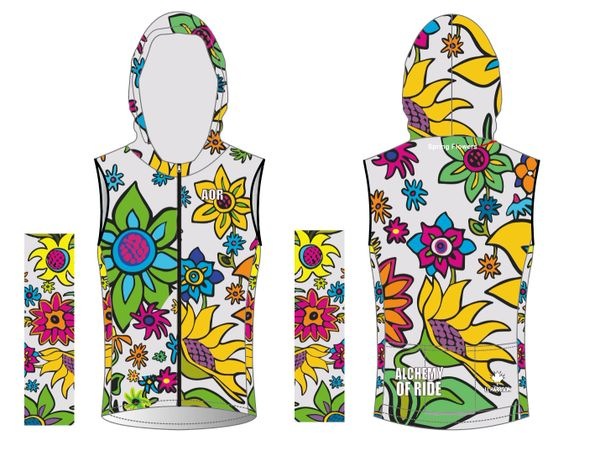 WHITE Spring Flowers thermal vest with scuba neck and hood