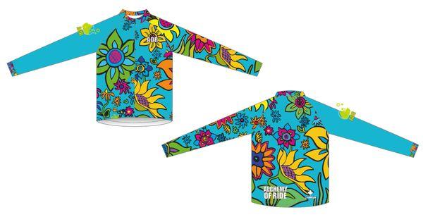"""Spring Flowers Long sleeve high neck jersey (12"""" front zipper)"""