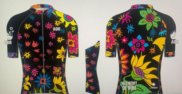 SPRING FLOWERS BLACK VERSION Ladies Full Zip Short Sleeve Cycling Jersey