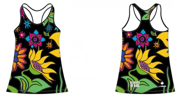 BLACK Spring Flowers Ladies Racer Back Tank with invisible side zip pocket RECYCLED FABRIC 50 SPF