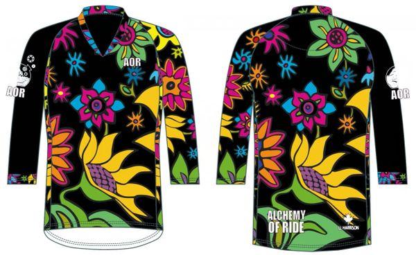 Womans FIt green Spring Flowers Mtb Bike Jersey 3/4 sleeve