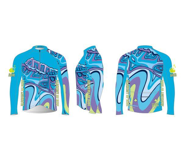Looking South Men's Full Zip Long Sleeve Cycling Jersey.