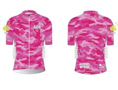 Ladies Full Zip Pink Camo short sleeve cycling jersey