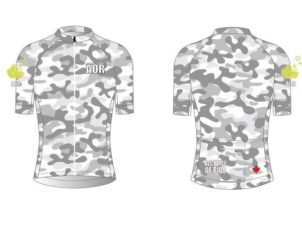 Grey Camo Ladies Full Zip Short sleeve cycling jersey