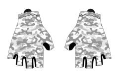 Grey and White camo padded cycling gloves