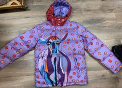 Lavender Lucy mens fit 700 fill down jacket lavender body cranberry hood