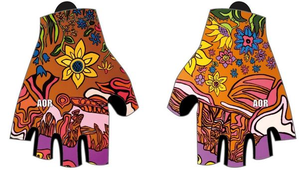 Spring Flowers padded cycling gloves