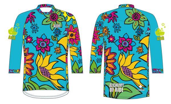 Spring Flowers Ladies 3/4 sleeve MTB jersey TURQUOISE