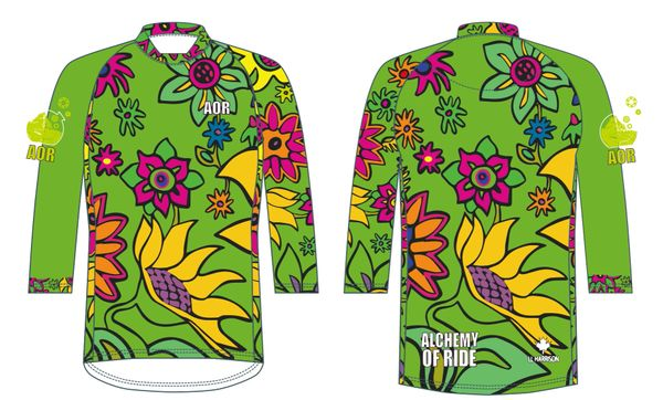 Spring Flowers Ladies 3/4 sleeve MTB jersey GREEN