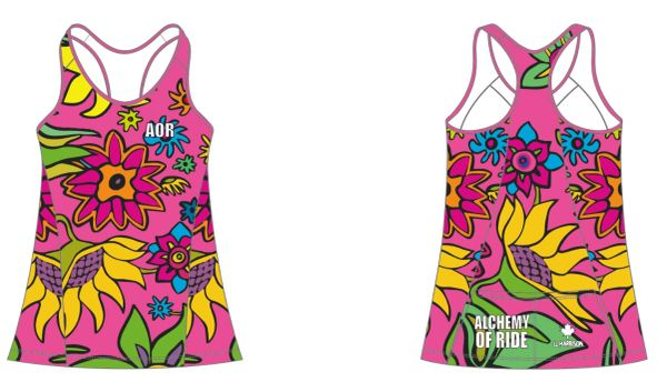 HOT PINK Flowers Ladies Racer Back Tank with invisible side zip pocket RECYCLED FABRIC 50 SPF