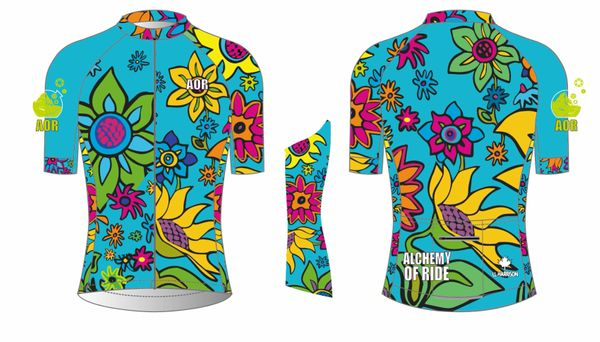 Flowers Ladies Full Zip Short Sleeve Cycling Jersey TURQUOISE