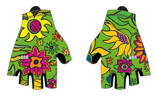 Green Spring Flower cycling gloves