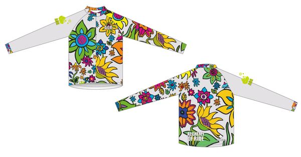 "Spring Flowers white long sleeve with 12"" front zipper RASH GUARD top"