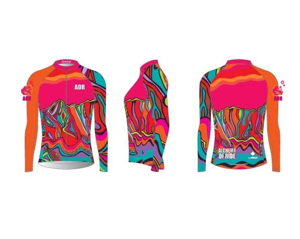 Ladies Hot pink and orange ARMCHAIR Rash guard SPF 50