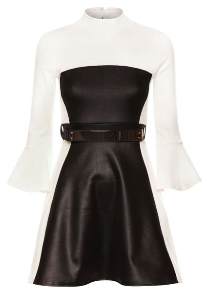 Womens Faux Leather Bell Sleeves Fit and Flare Dress