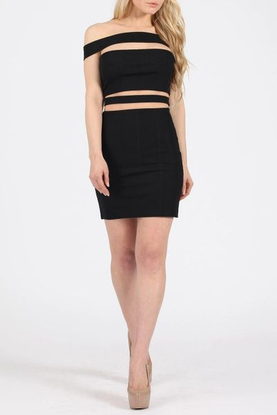 Missi Womens Black Mini Dress, Cut Out Detail