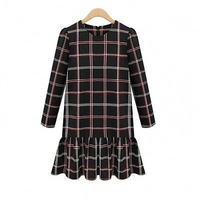 Womens European Style Plaid Flared Dress