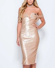 Womens Bardot Off the Shoulder Sequin Midi Dress