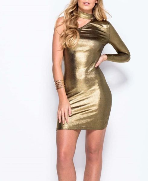 Parisian Womens One Shoulder Choker Neck Metallic Gold Mini Dress