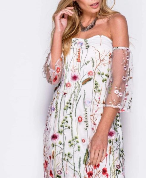 Parisian Womens Embroidered Floral Mesh White Off the Shoulder Mini Dress