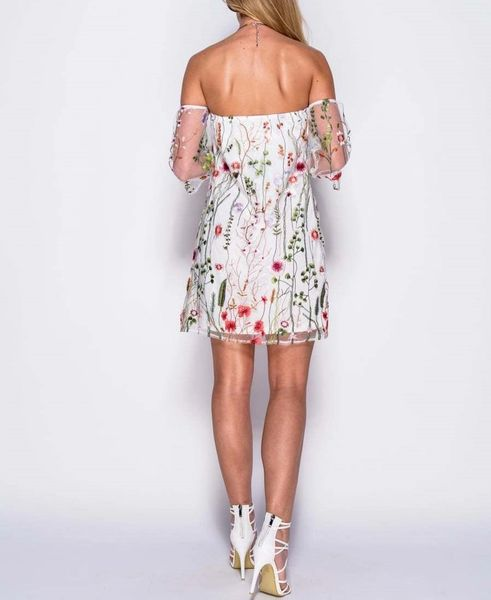 3ddd36dbad2e0 Womens Embroidered Floral Mesh White Bardot Off the Shoulder Mini Dress