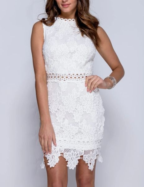 Parisian Womens High Neck White Floral Lace Embroidered Cocktail Dress