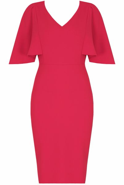 Womens Bell Sleeves V Neck Midi Dress Fuschia