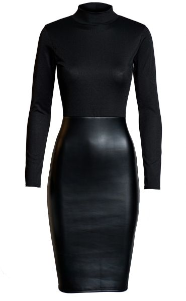 Womens Faux Leather Mixed Media Black Dress