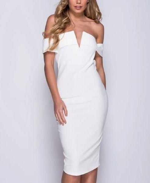 Parisian Off The Shoulder Off-White Dress, V Neck Front