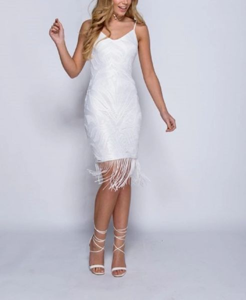 White Embroidered Dress,V Neck Tassle Fringe Hem Dress
