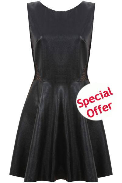 Womens Faux Leather Black Dress Mesh Sides