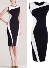 Womens Black White Color Block Dress