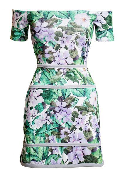 Womens Floral Off-the Shoulder Mini Dress
