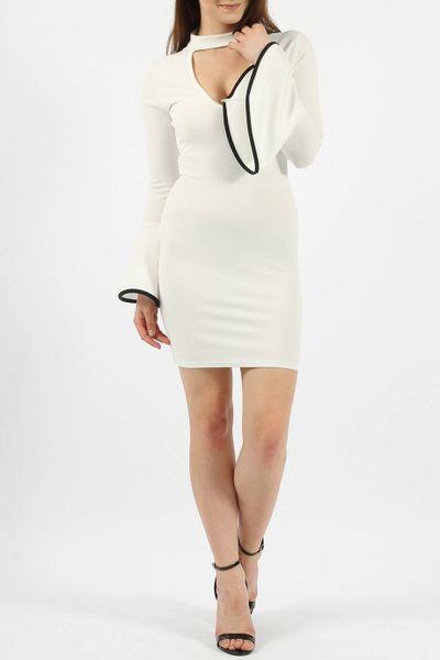 Missi Womens Choker Neck Bell Sleeves Circle Cuff Sheath Mini Dress, V Neck