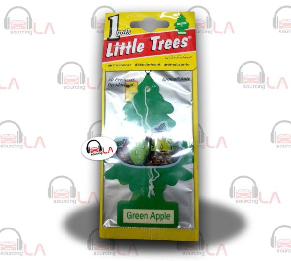 Little Trees Hanging Car and Home Air Freshener, Green Apple(Pack of 24)