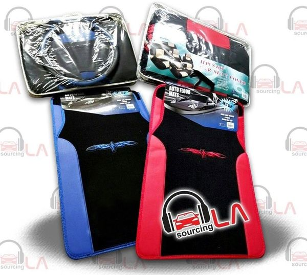 15 PCS. CAR SEAT COVER KIT Two Tone Designer + Floor Mats w/Emb Tattoo