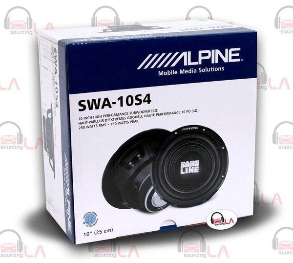 """Alpine SWA-10S4 10"""" 750W 4 Ohm BASSLINE Series Car Audio Subwoofer"""