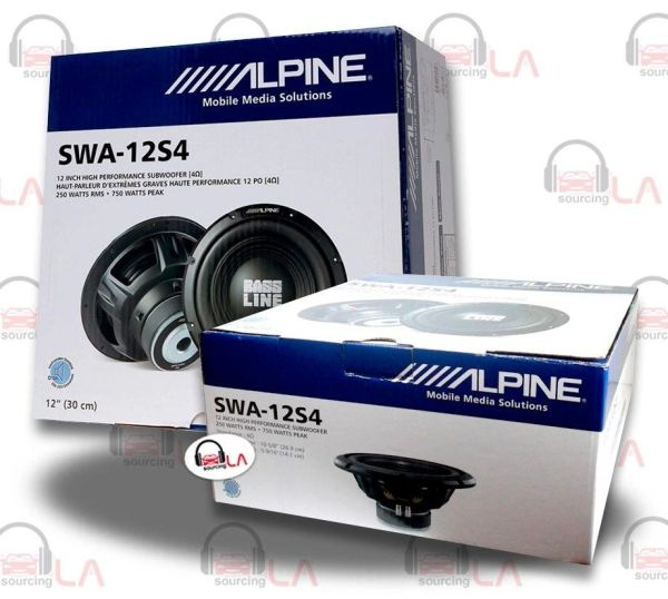 """A Pair of Alpine SWA-12S4 12"""" Single 4-Ohm Type-E Series Car Subwoofer"""