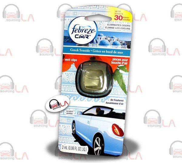 Febreze Car Vent Clips Air Freshner & Odor Elimintor Greek SeaSide - LOTOF8