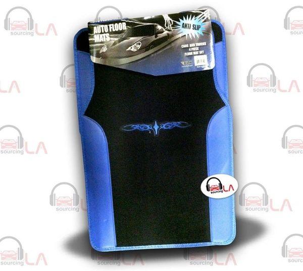 Two Tone Black Blue Designer Car Auto Floor Mats w/Embroidered Tattoo