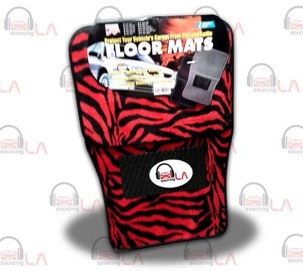New 4pc Set Red/Black Zebra Tiger Car Truck Carpet Floor Mats