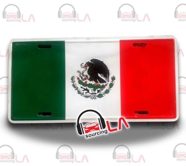 MEXICO MEXICAN COUNTRY FLAG EMBOSSED METAL LICENSE PLATE AUTO