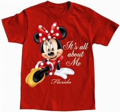 Toddler Girls T Shirt All About Me Minnie, Red (Florida Namedrop)