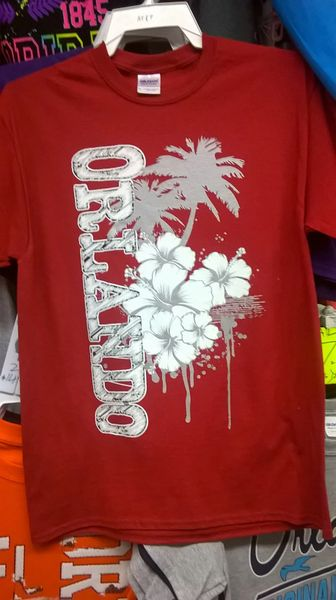 Adult Orlando Silver Flower & Pam Tree T-Shirt