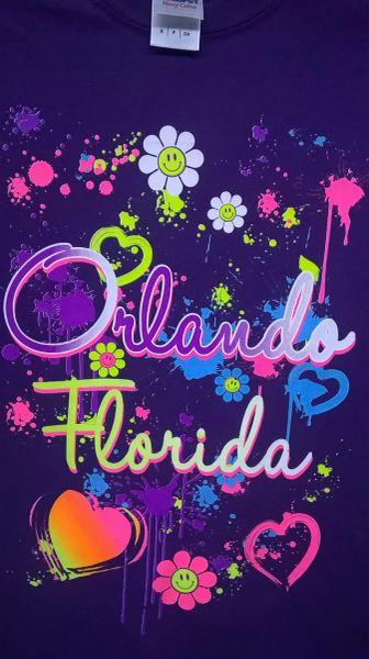Adult Neon Happy Orlando Florida T-Shirts