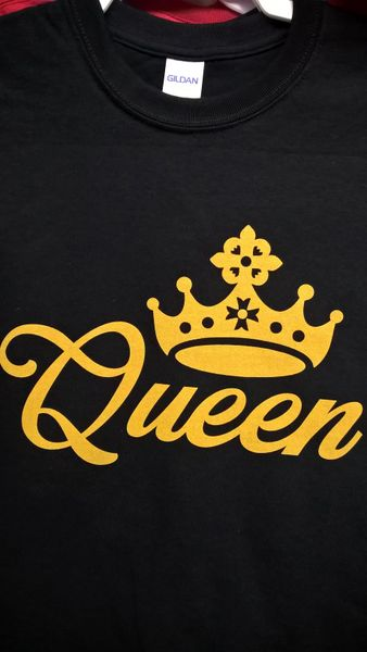 KING & QUEEN T-Shirt with Gold Letters